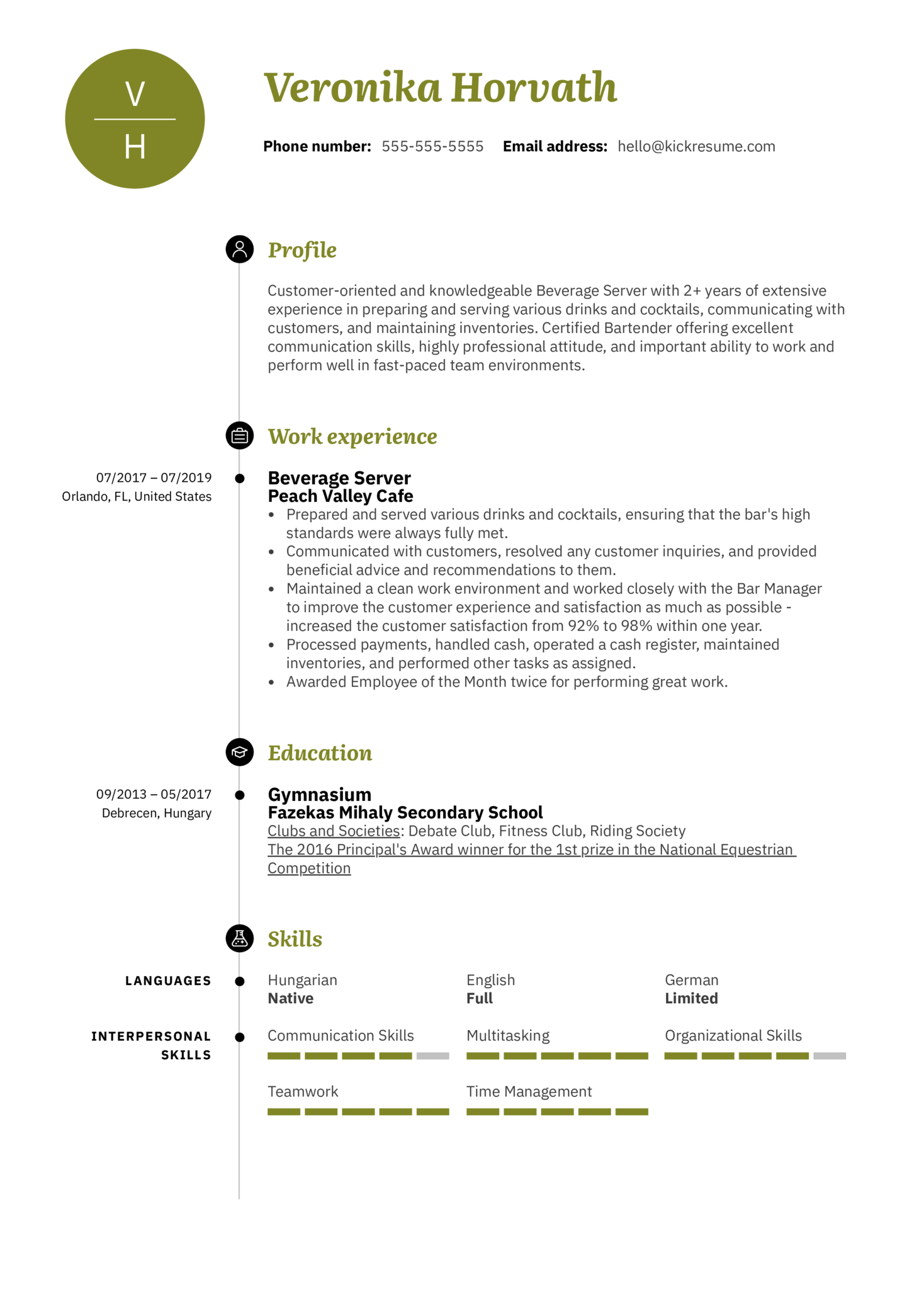 Resume Examples By Real People Beverage Server Resume