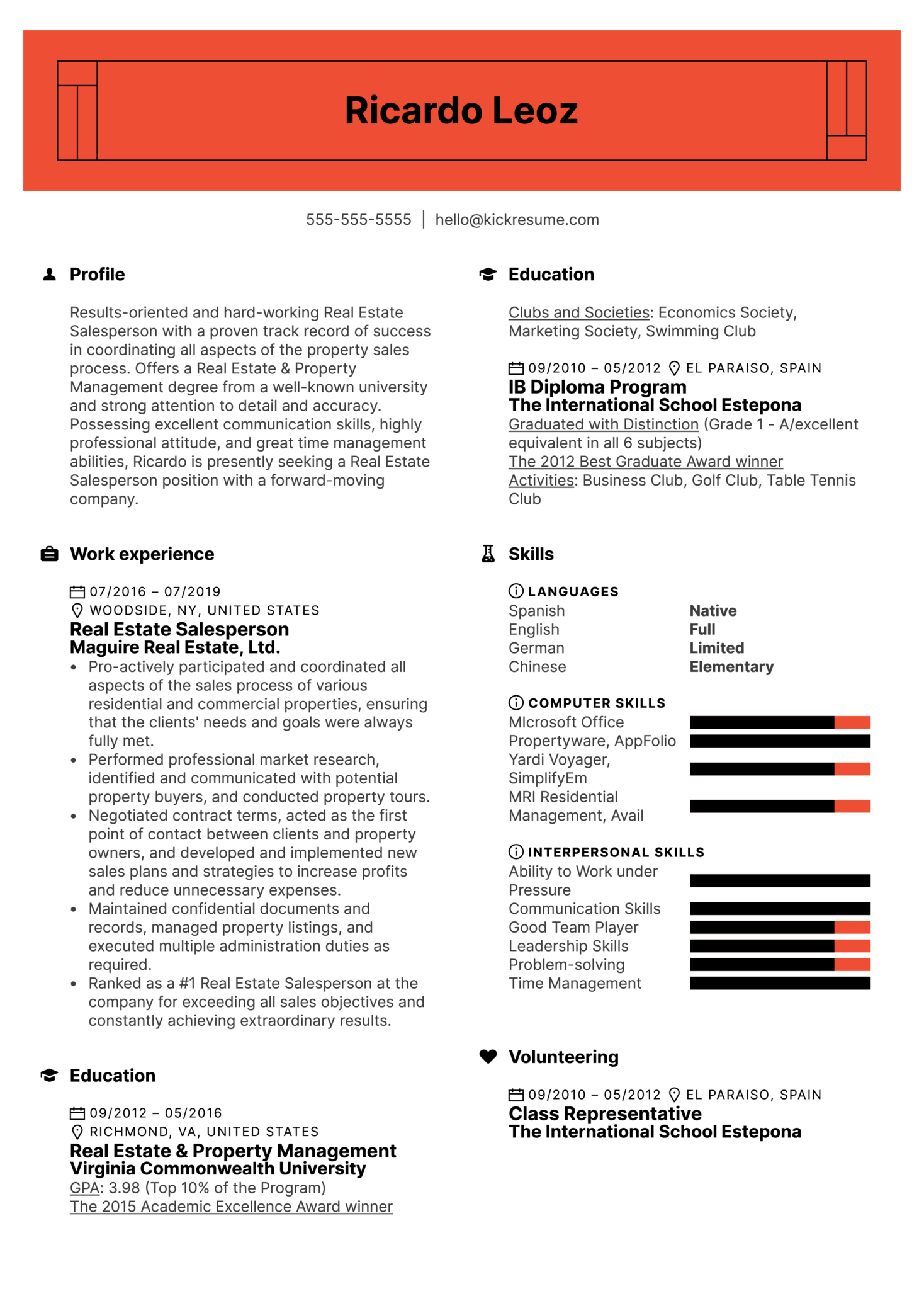 Real Estate Salesperson Resume Sample (Teil 1)
