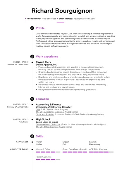 Payroll Clerk Resume Example