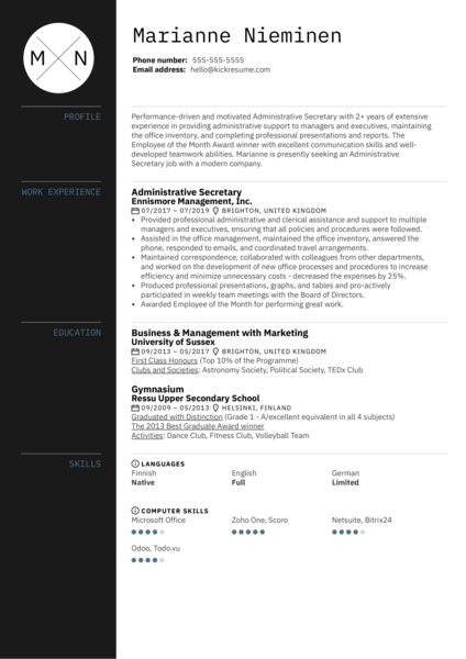 Administrative Secretary Resume Sample