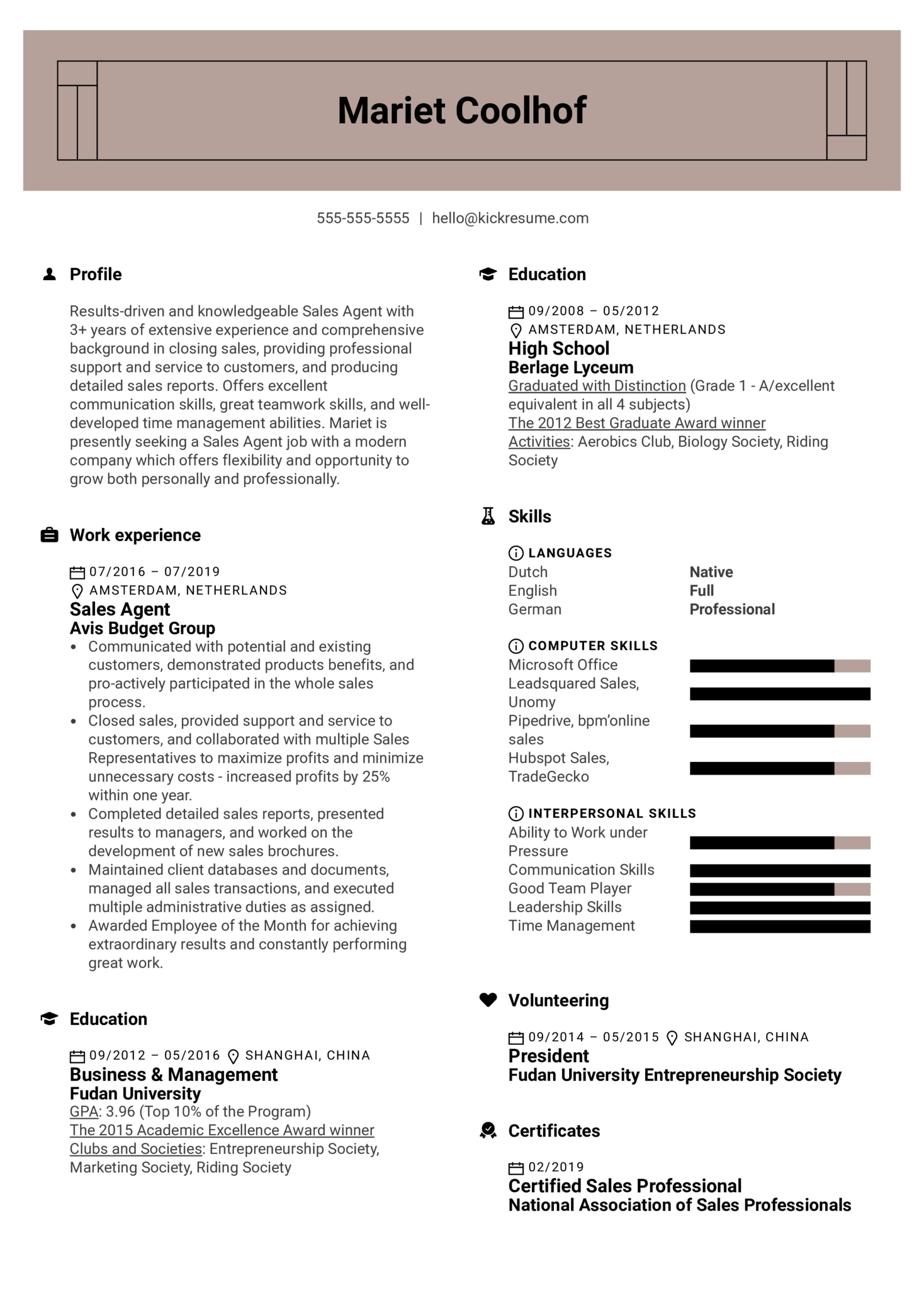 Sales Agent Resume Example (Teil 1)