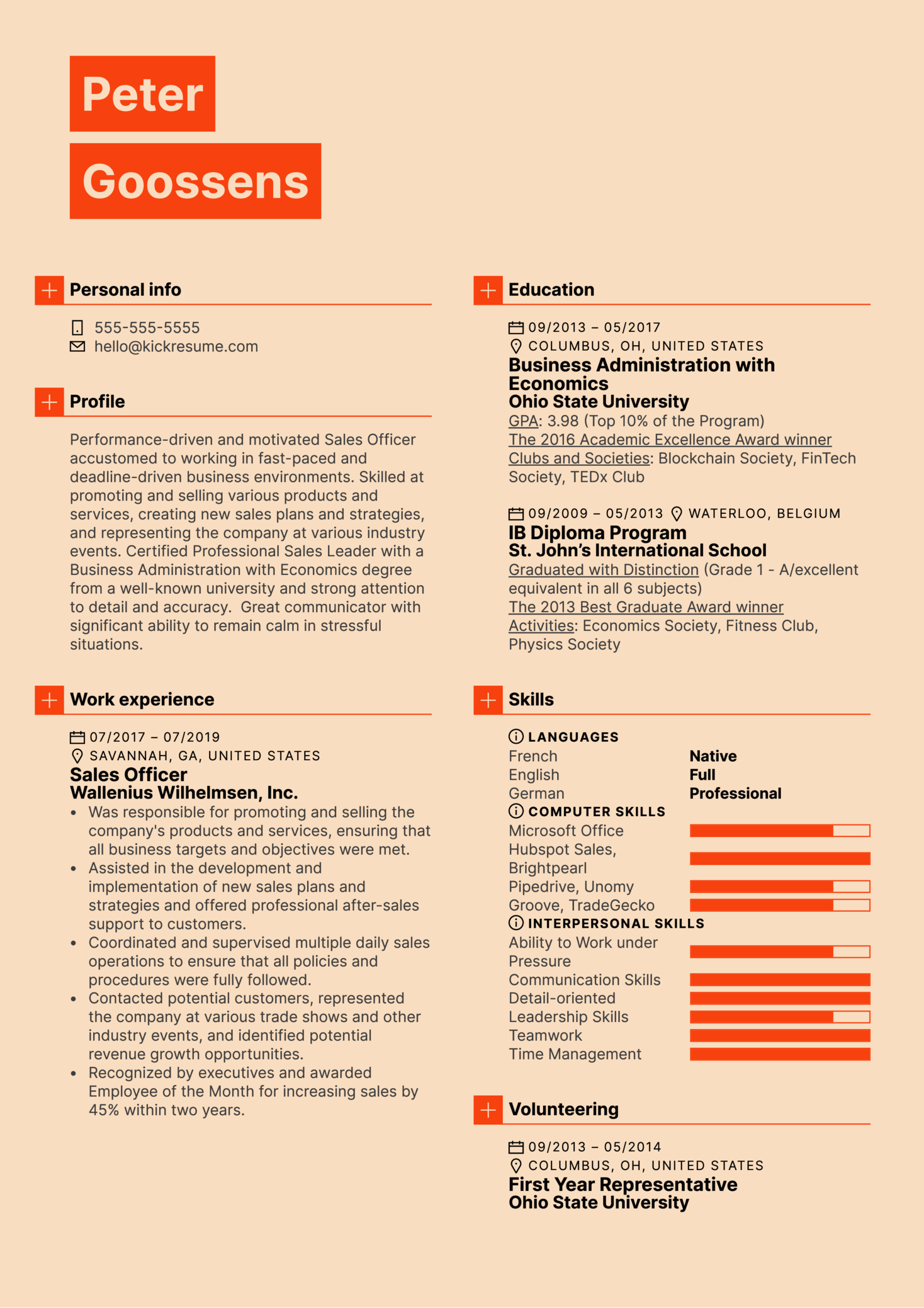 Sales Officer Resume Sample