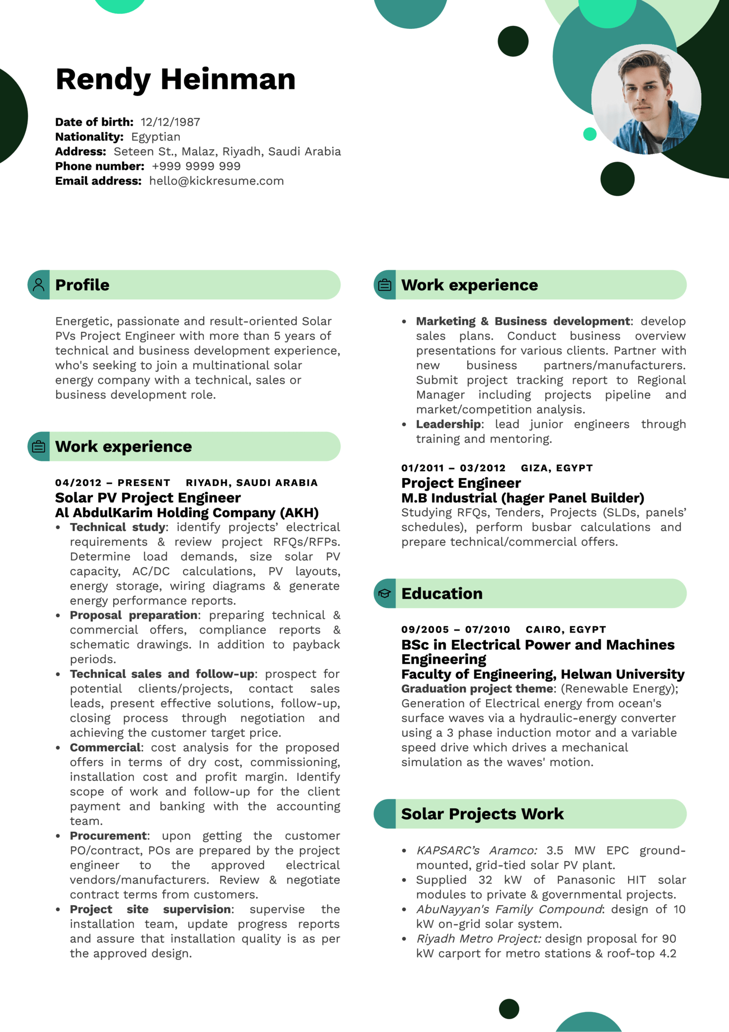 Resume Examples by Real People: Solar PVs business development ...