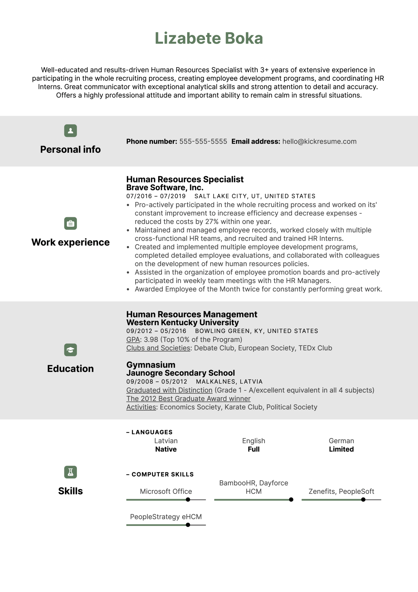 Human Resources Specialist Resume Example (parte 1)