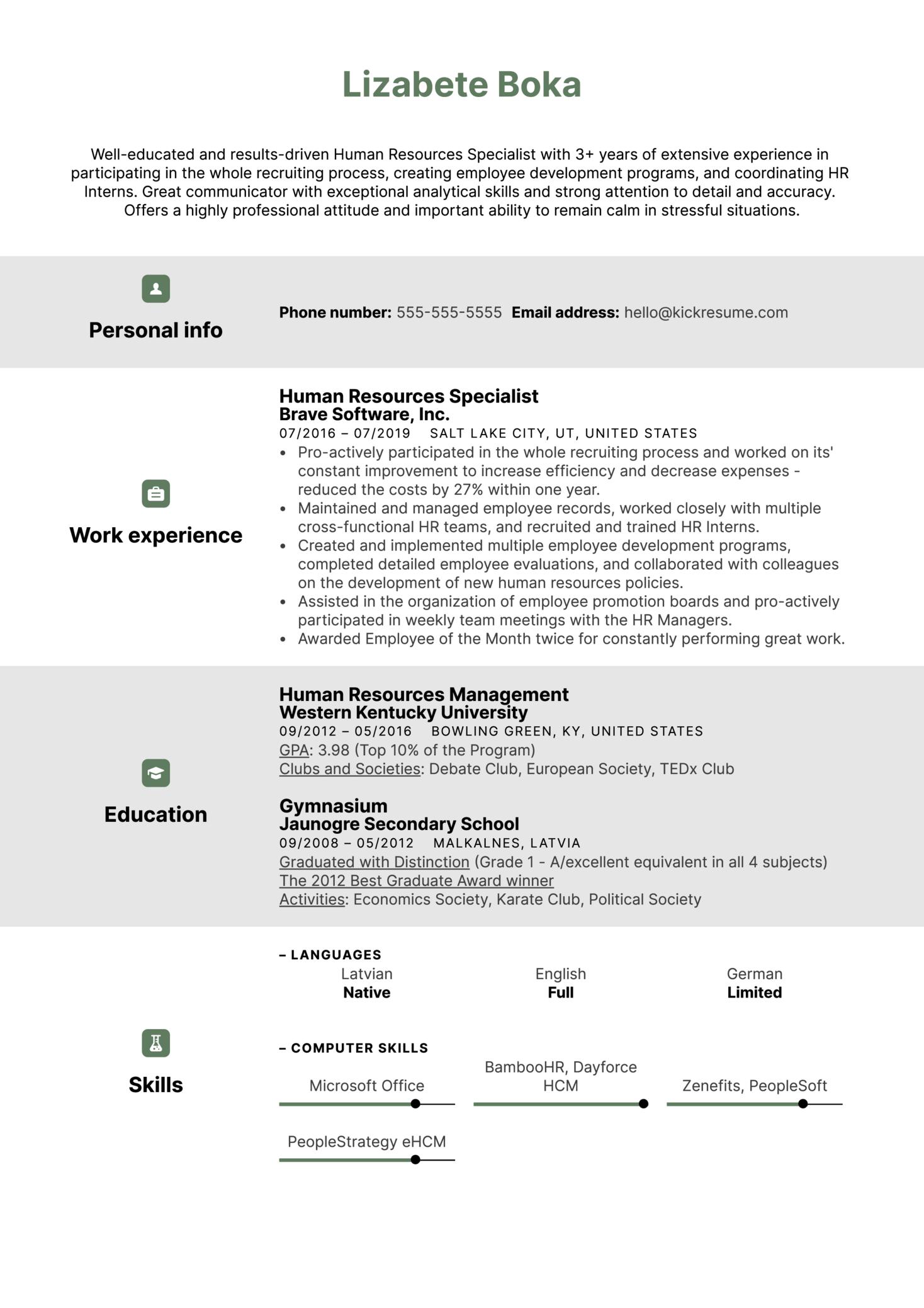 Human Resources Specialist Resume Example (časť 1)