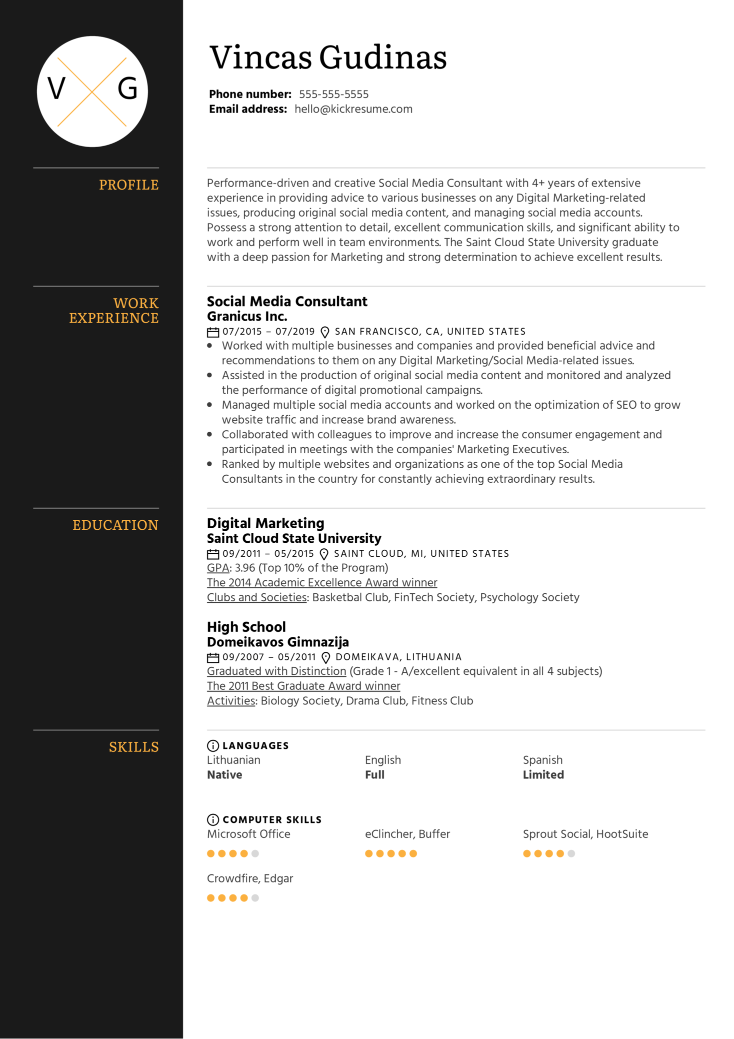Resume Examples By Real People Social Media Consultant