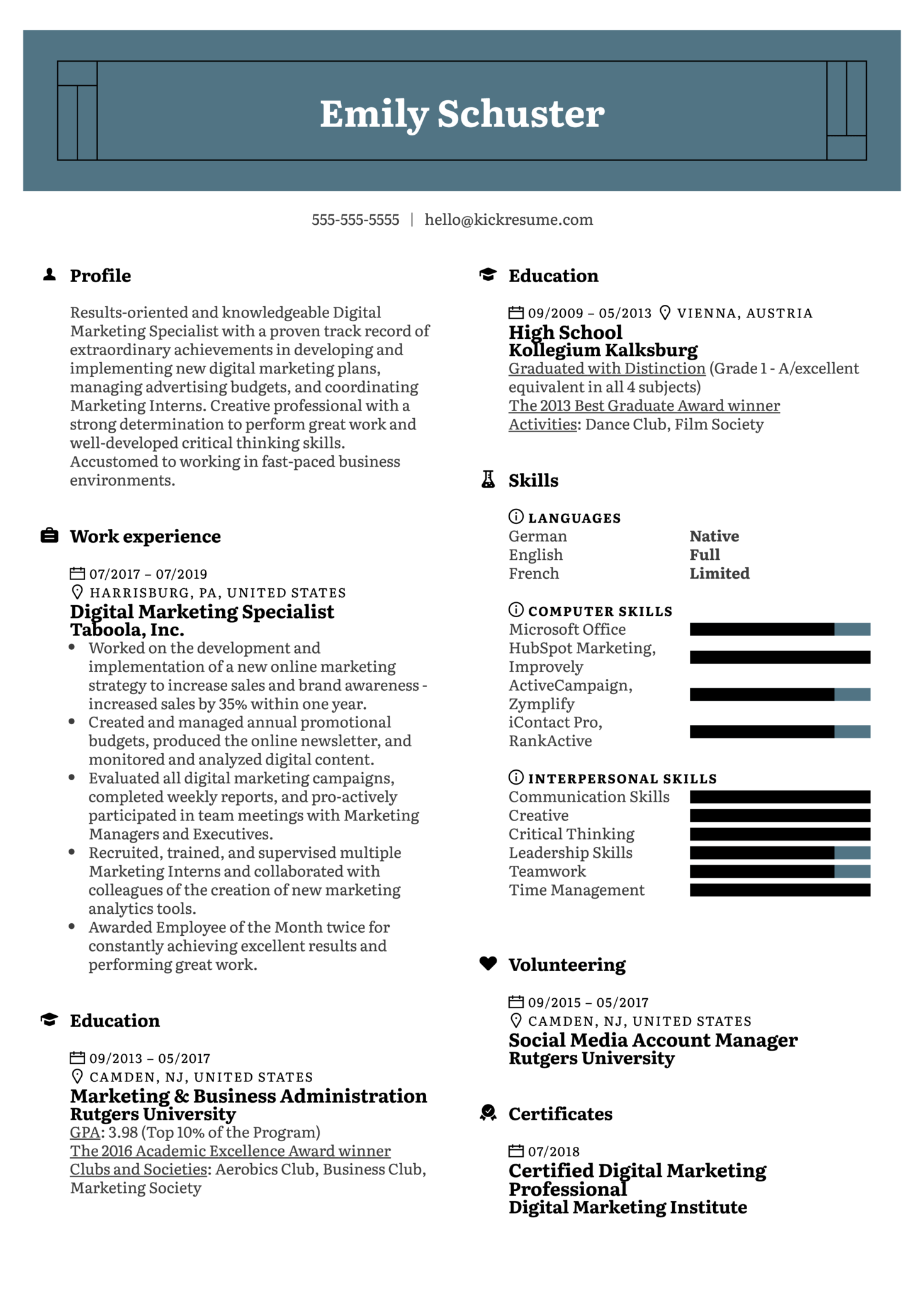Digital Marketing Specialist Resume Sample Kickresume