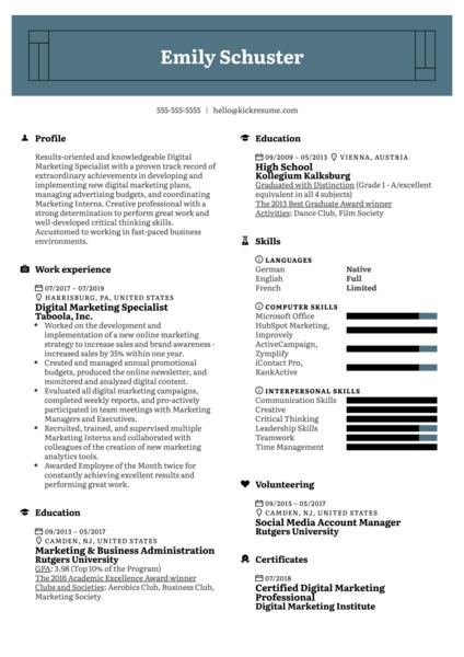 Digital Marketing Specialist Resume Sample
