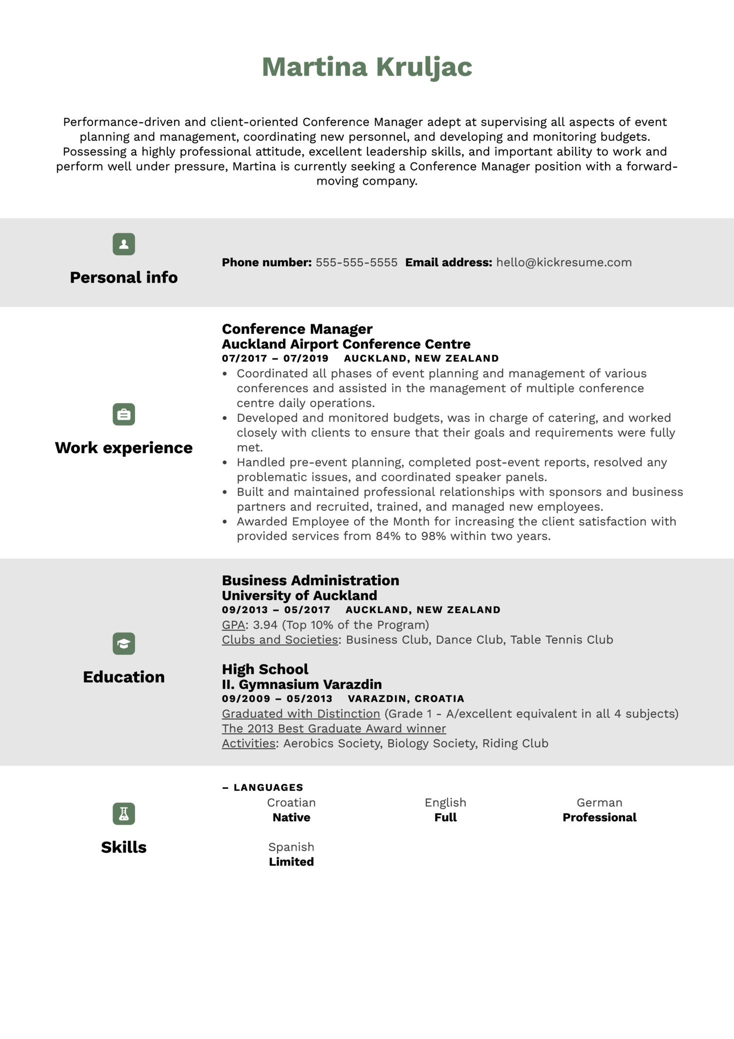 Conference Manager Resume Sample (Part 1)