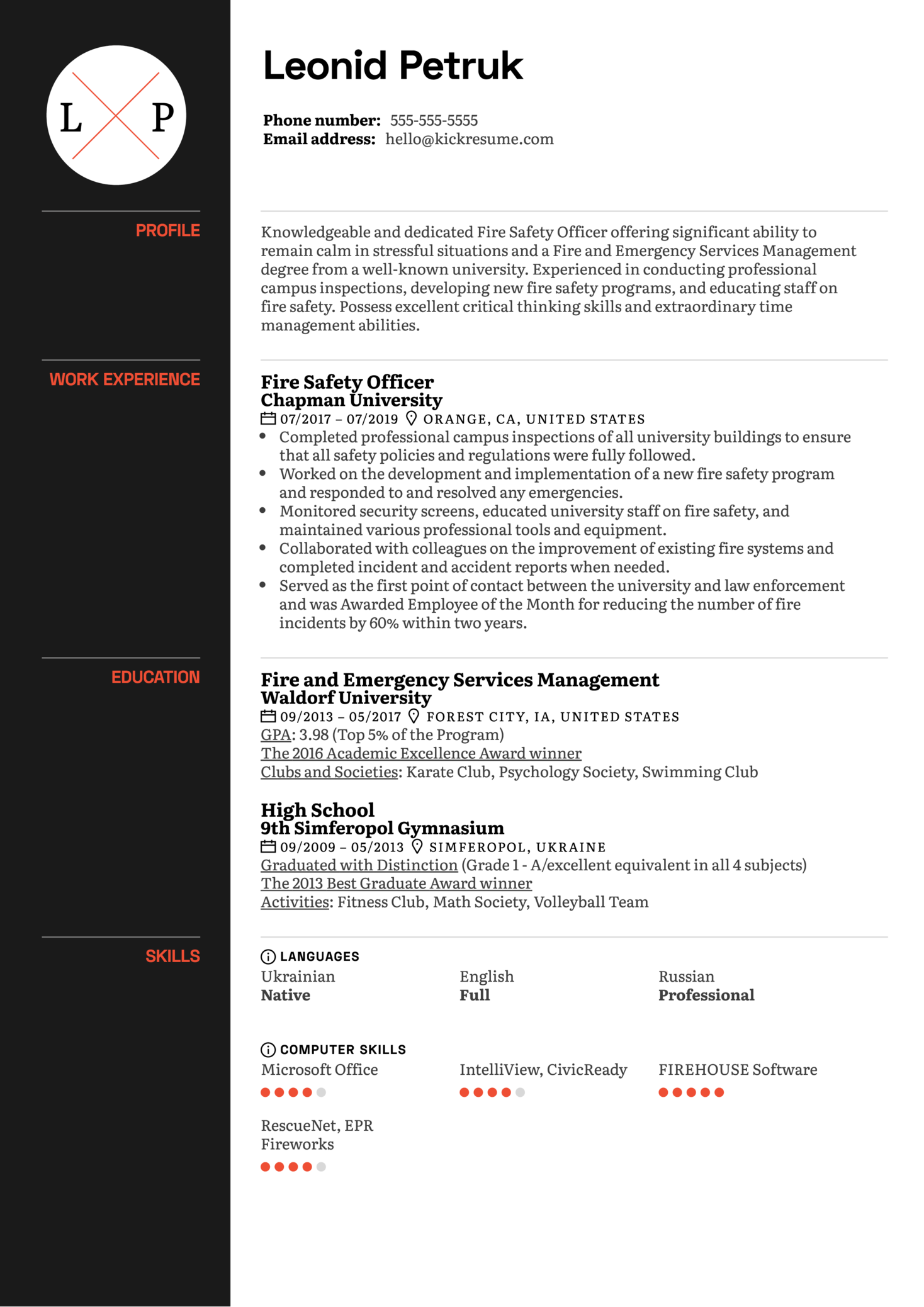 fire safety officer resume sample