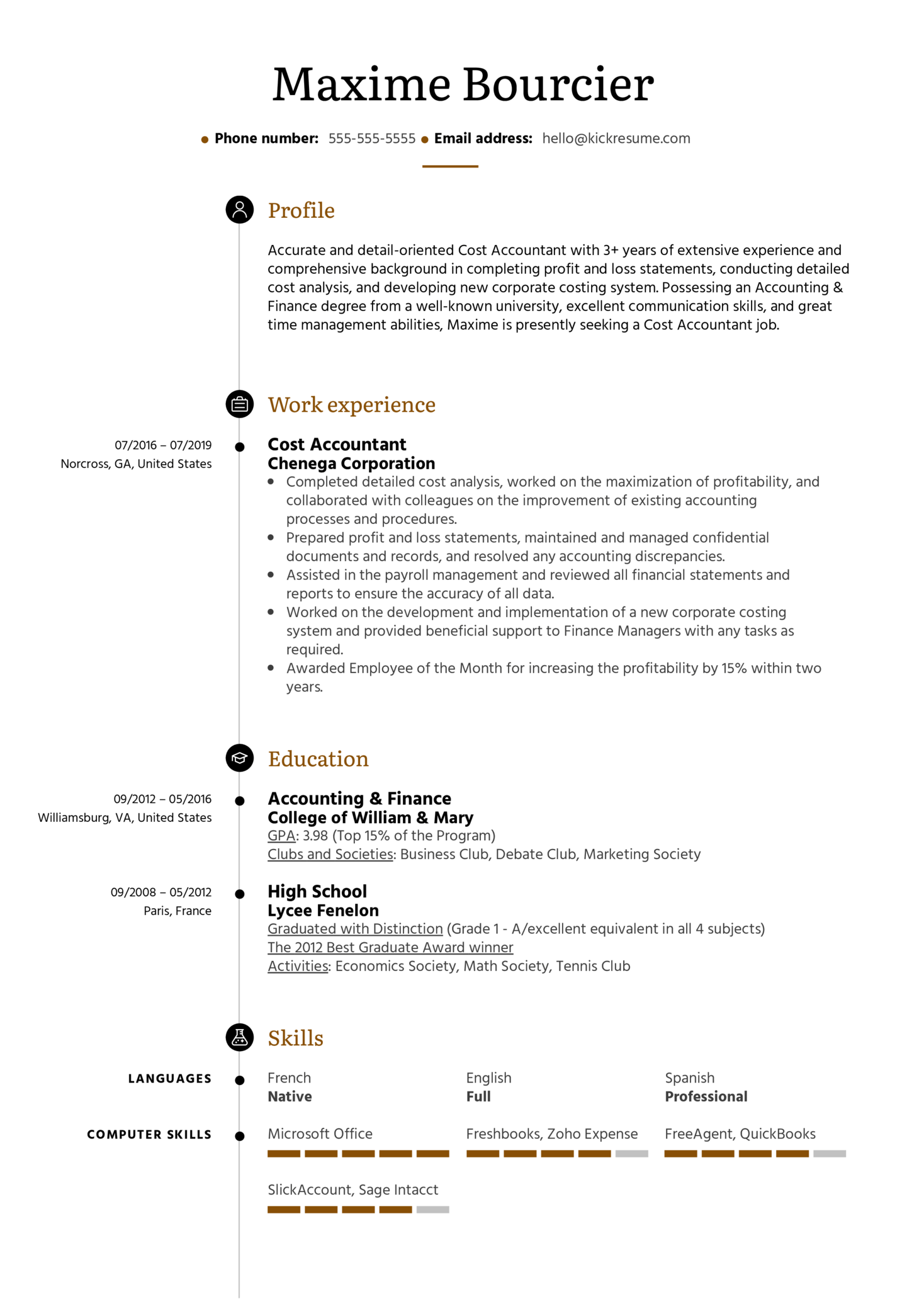 Resume Examples By Real People Cost Accountant Resume