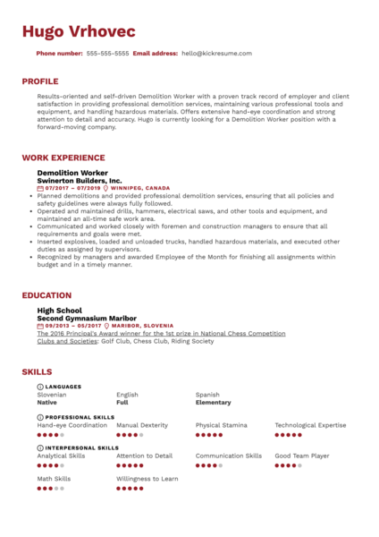 Demolition Worker Resume Sample