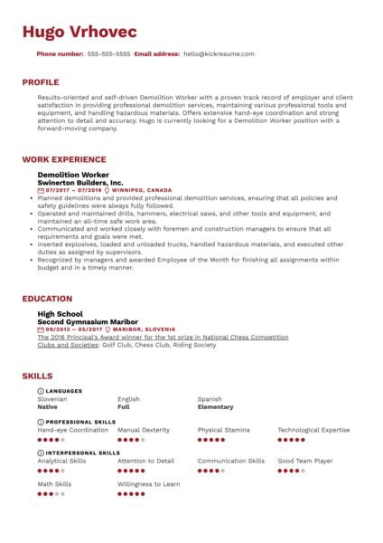 Demolition Worker Resume Sample