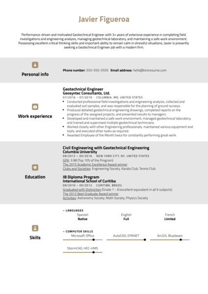 Geotechnical Engineer Resume Example