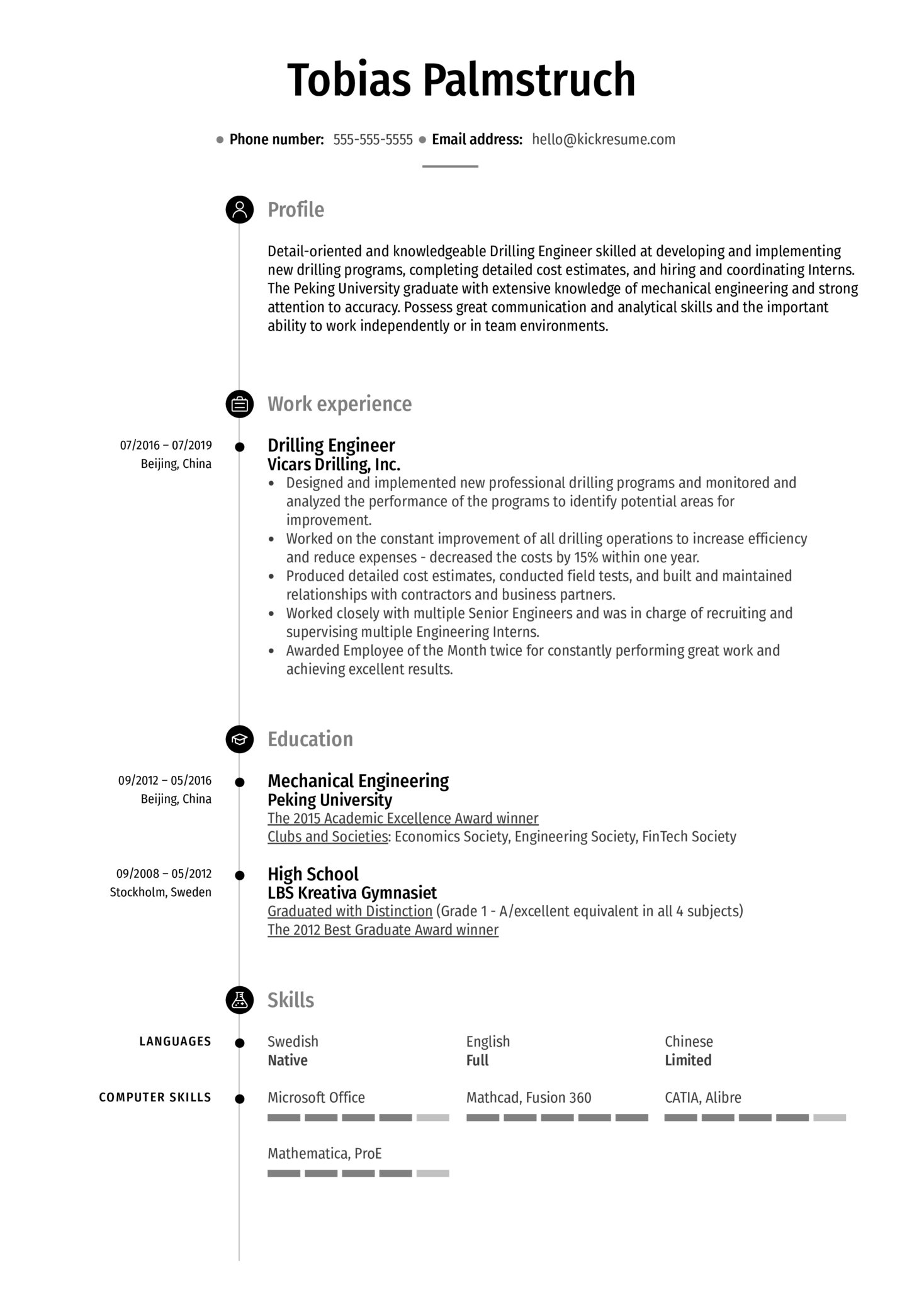 Drilling Engineer Resume Sample