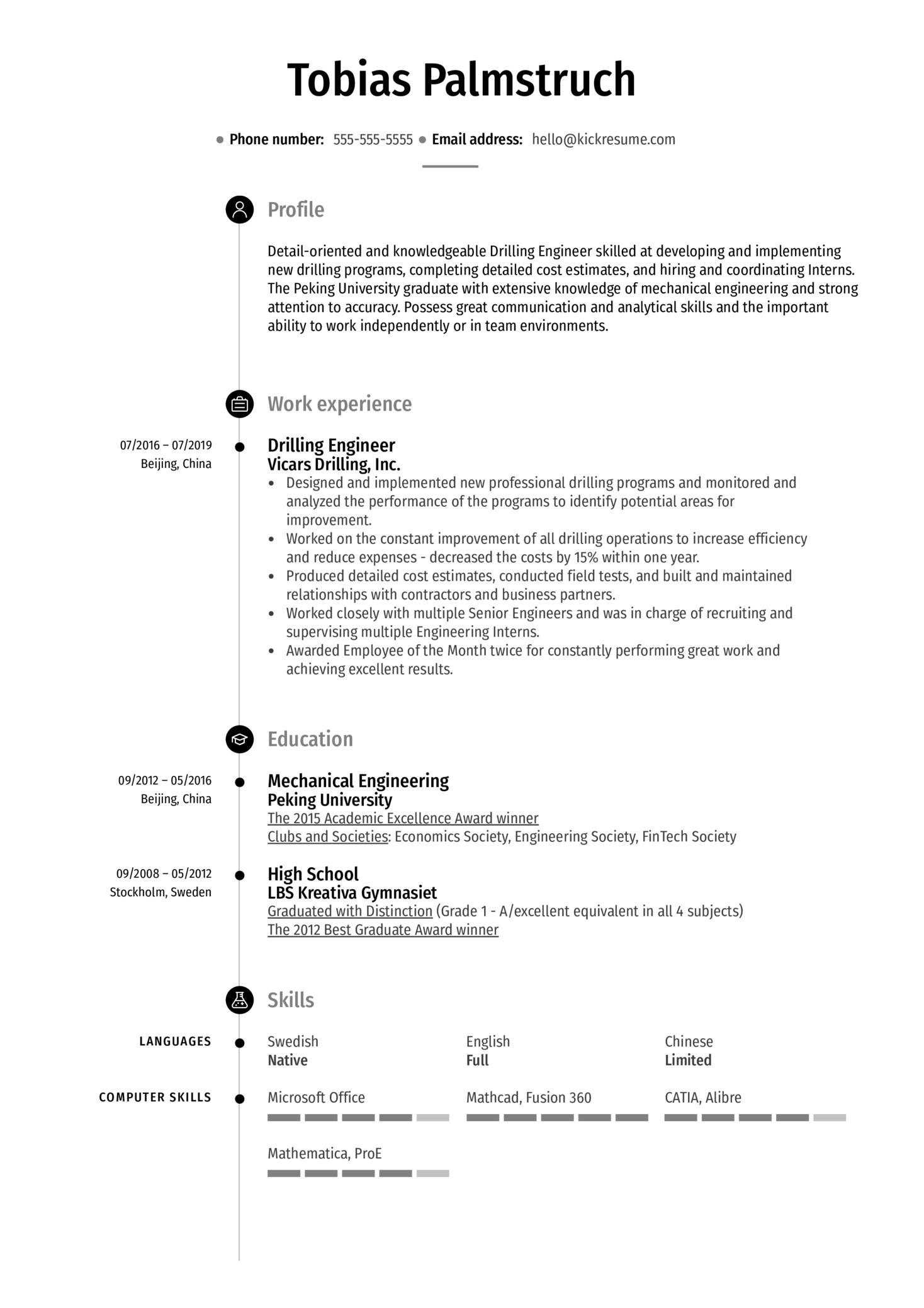 Drilling Engineer Resume Sample (časť 1)