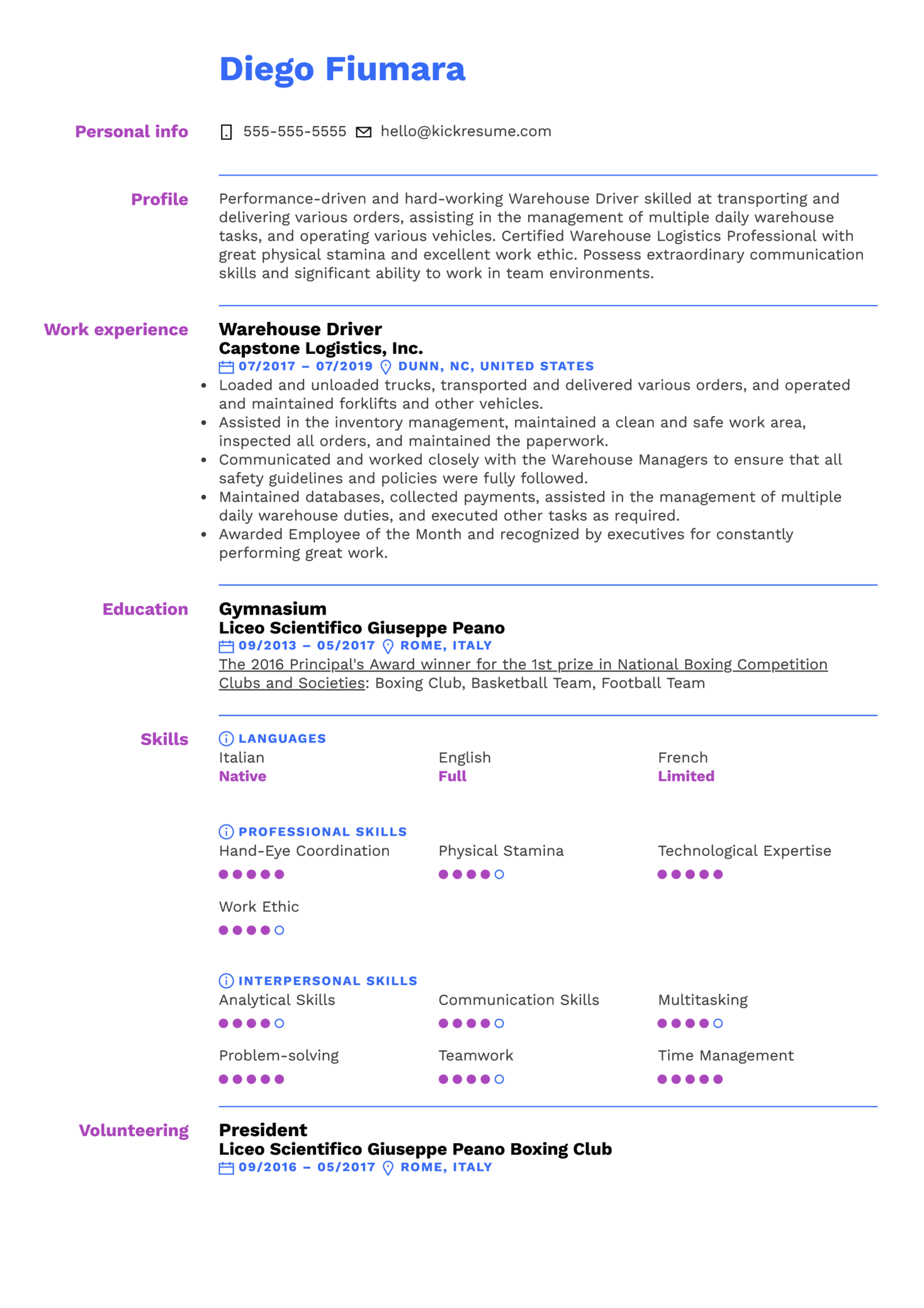 Warehouse Driver Resume Sample