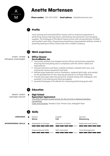Office Cleaner Resume Example