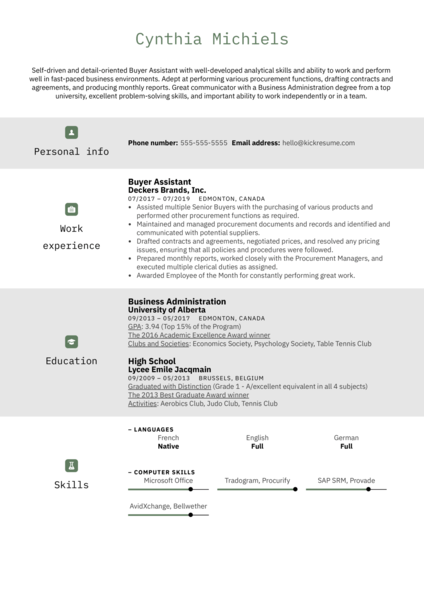 Buyer Assistant Resume Sample