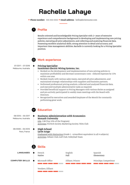 Pricing Specialist Resume Example