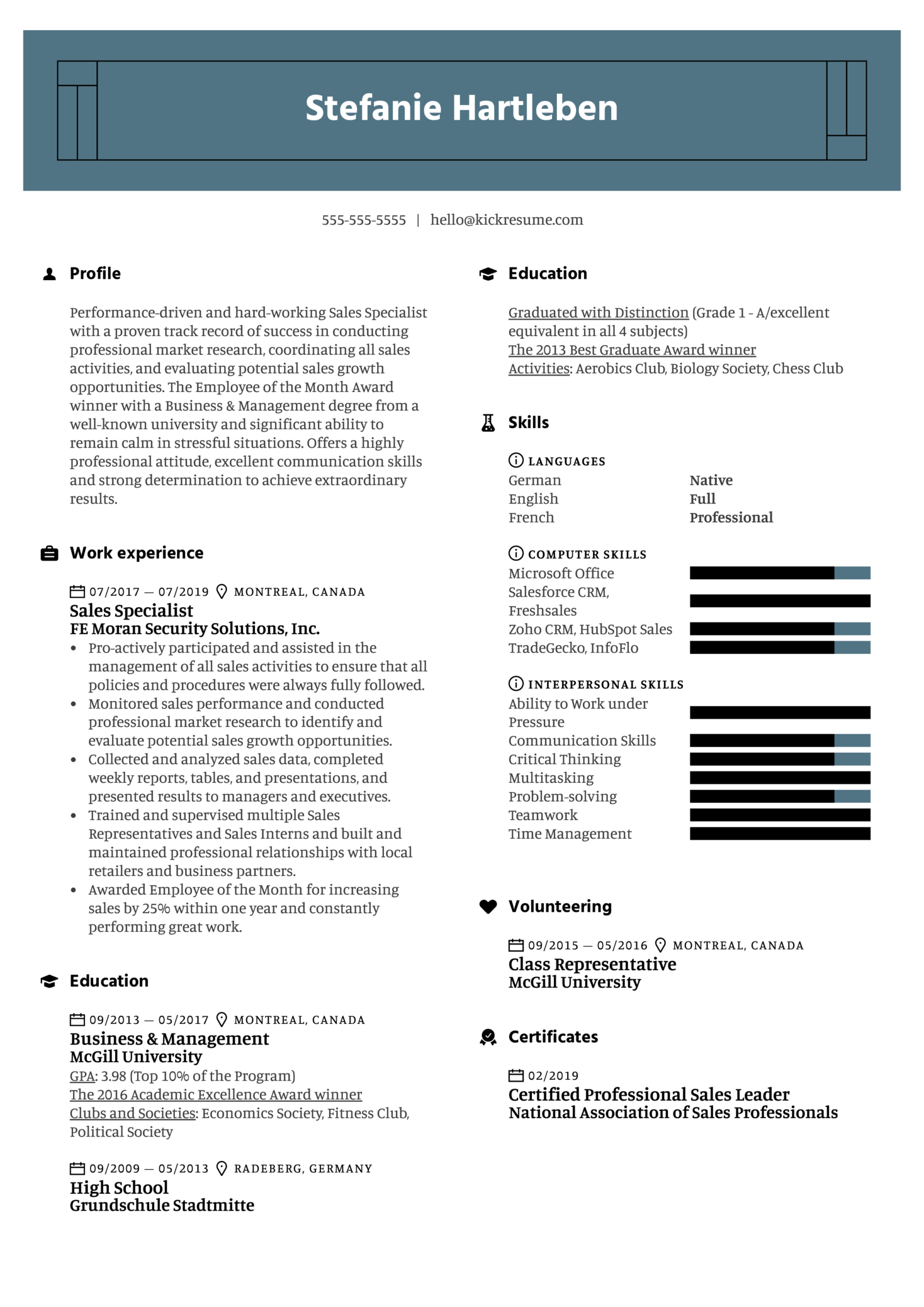 Sales Specialist Resume Example (Part 1)