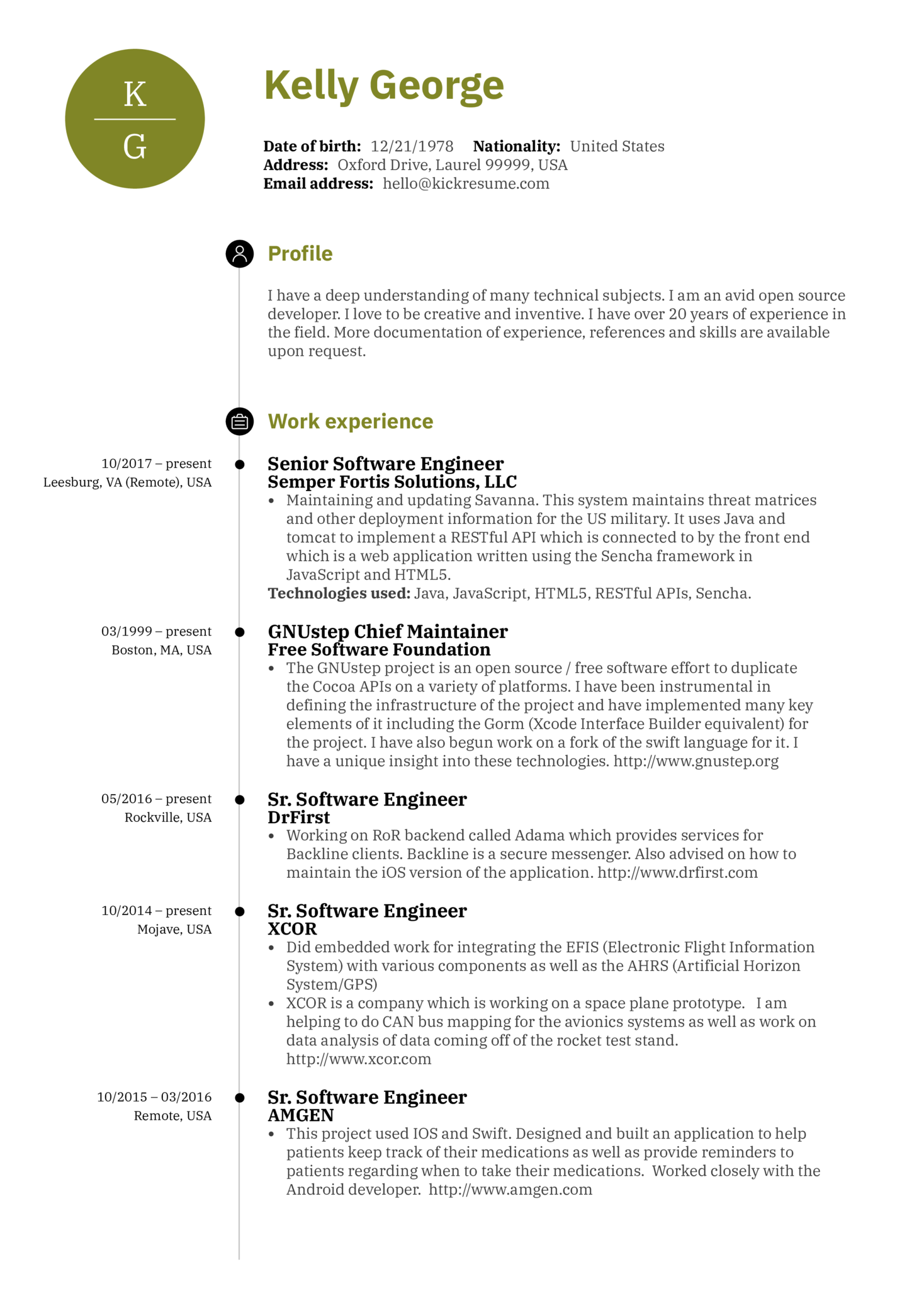 resume examples by real people senior software engineer resume sample kickresume. Black Bedroom Furniture Sets. Home Design Ideas