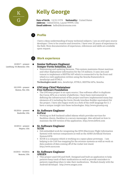 Senior software engineer resume sample