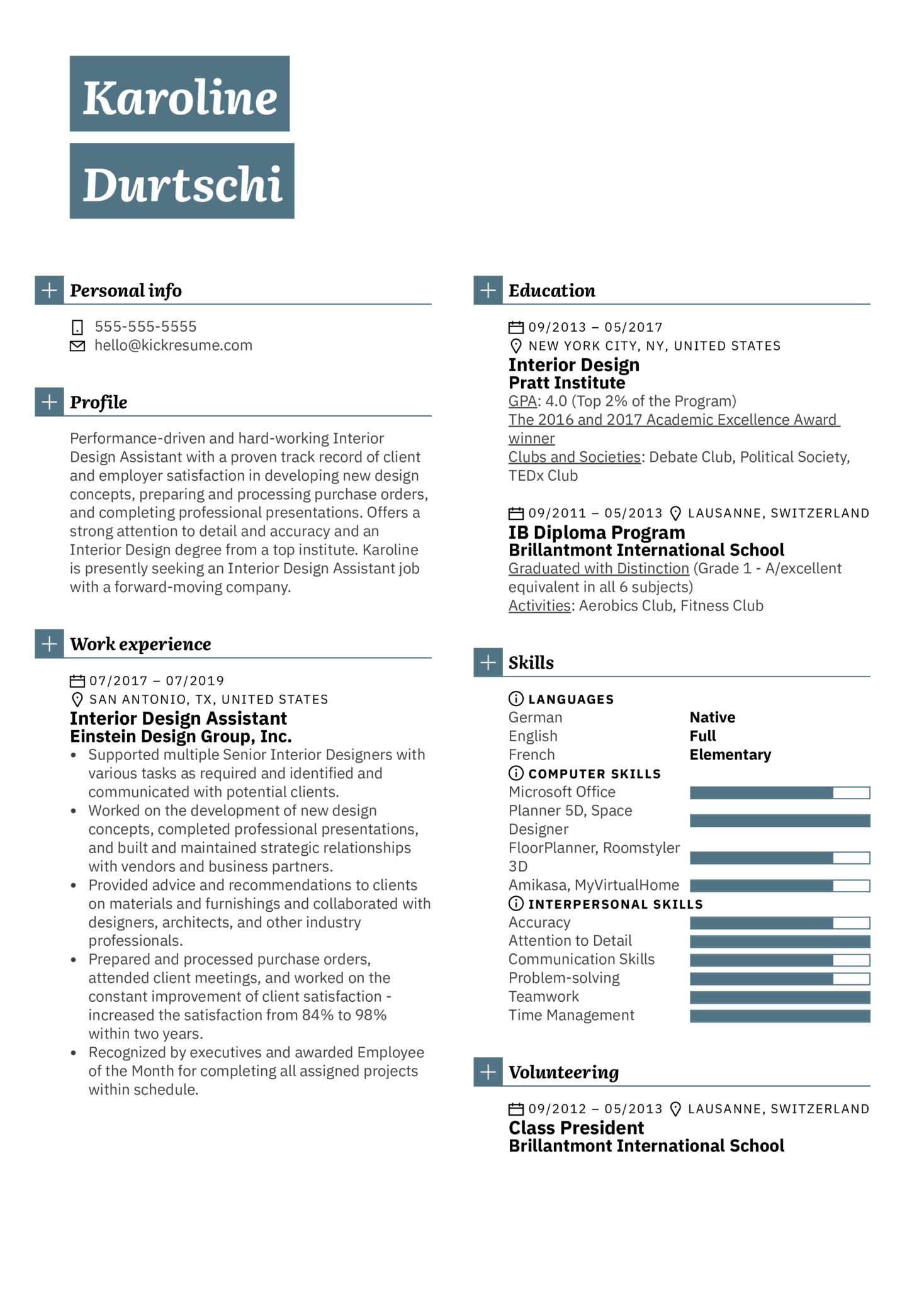 Resume Examples By Real People Interior Design Assistant