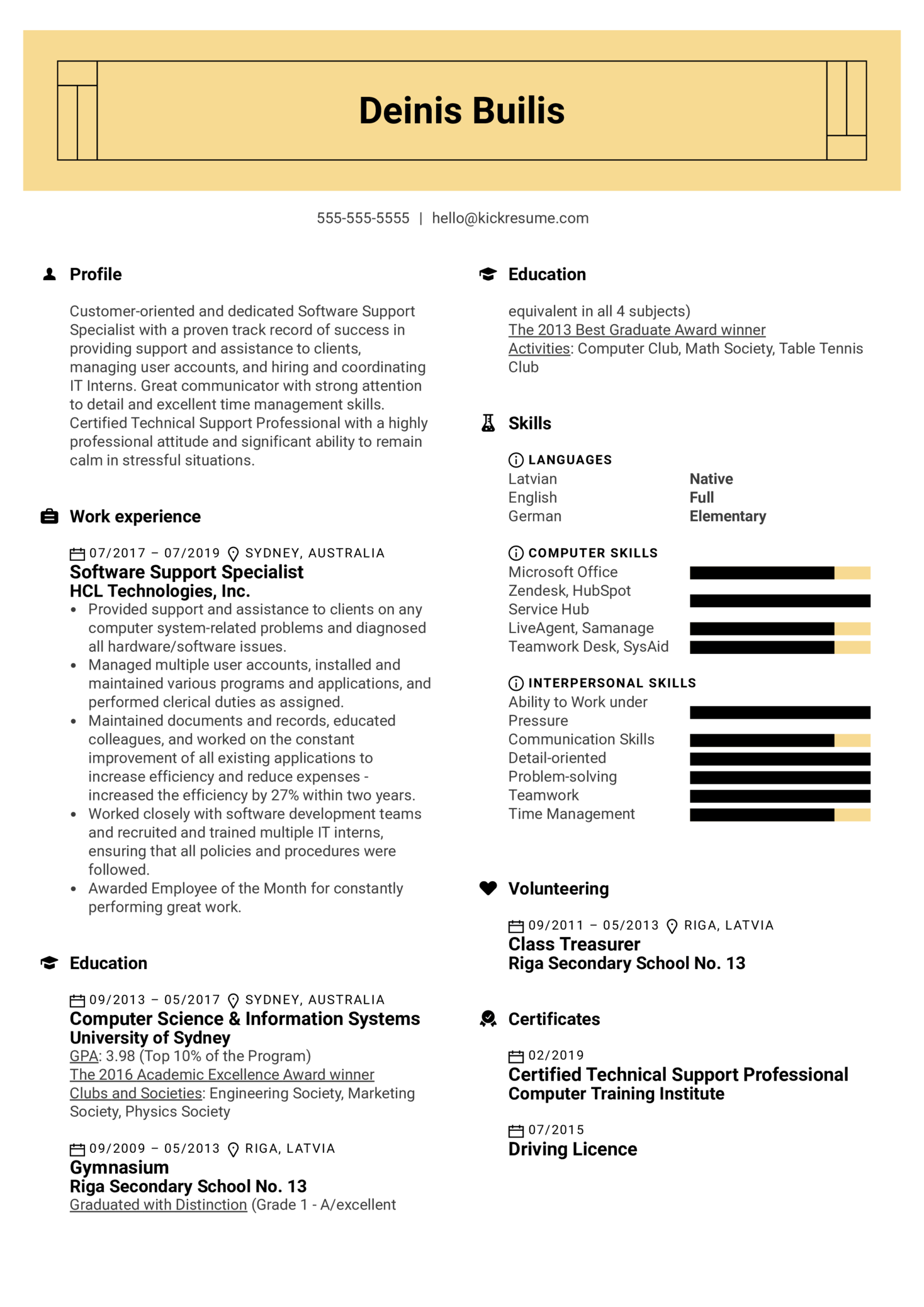 Software Support Specialist Resume Sample