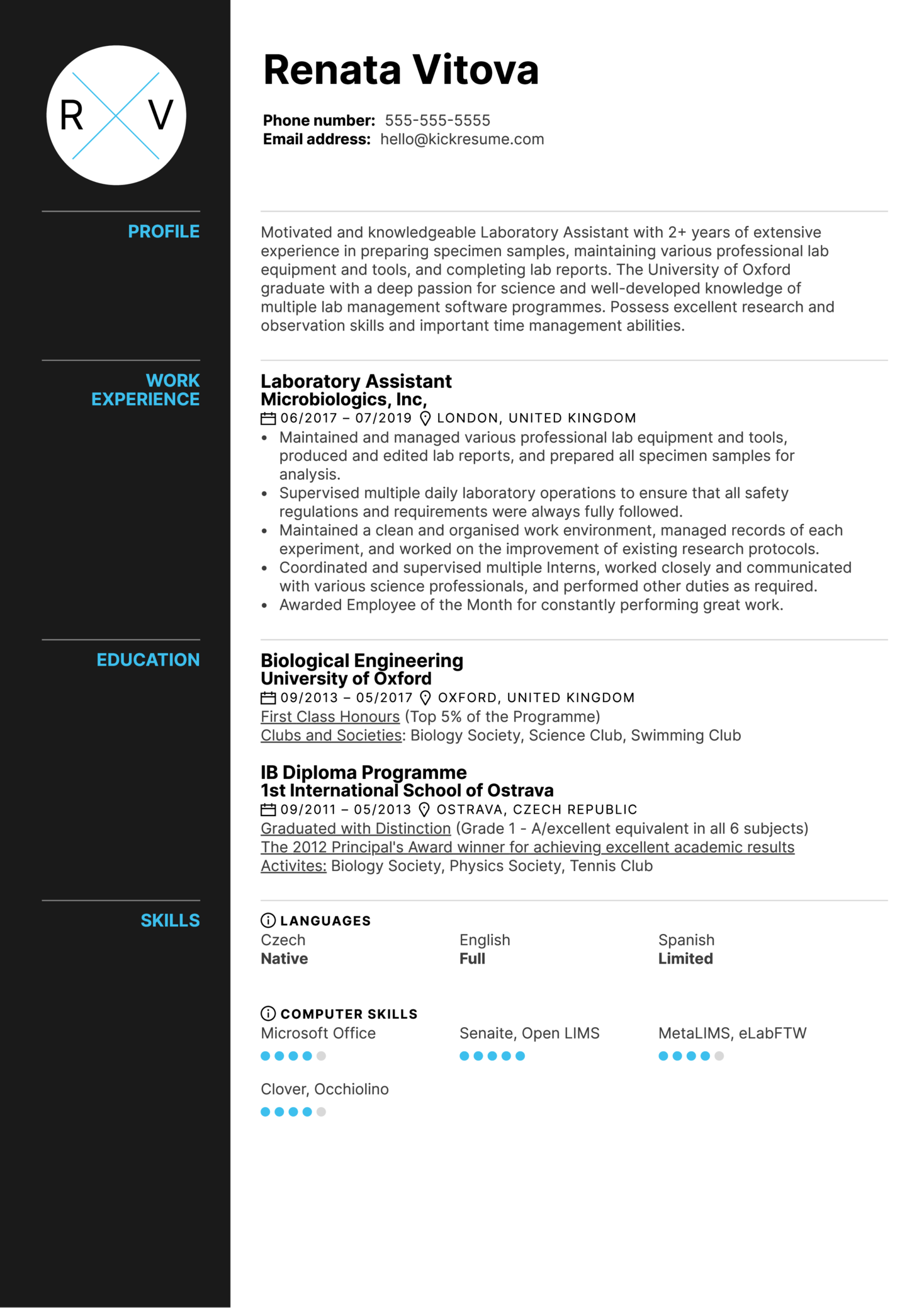 Laboratory Assistant Resume Sample Kickresume