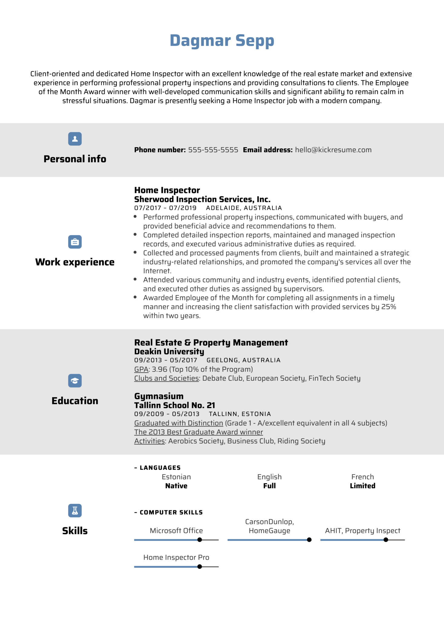 resume examples by real people  home inspector resume