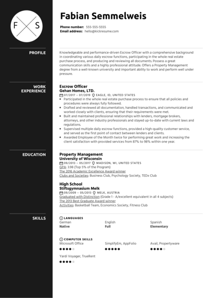 Escrow Officer Resume Sample