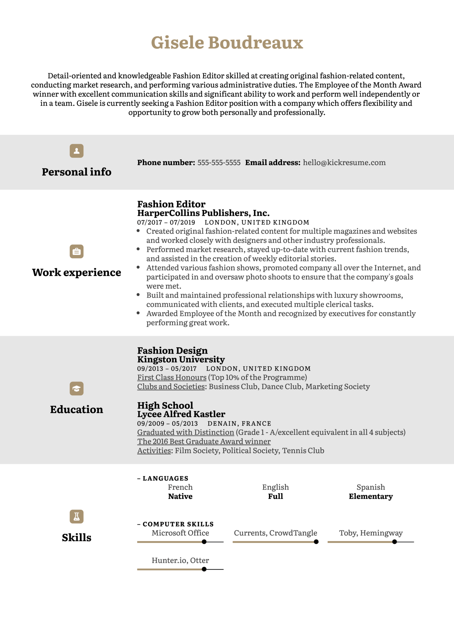 Resume Examples by Real People: Fashion Editor Resume Example