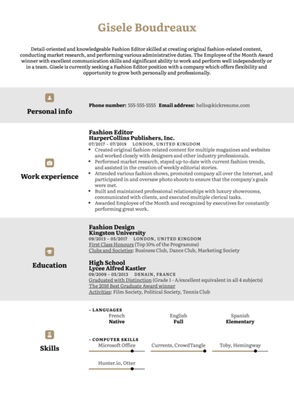Fashion Editor Resume Example