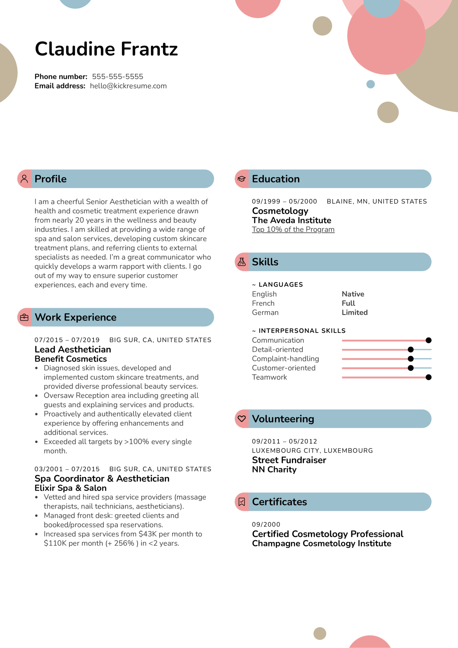Aesthetician Resume Sample