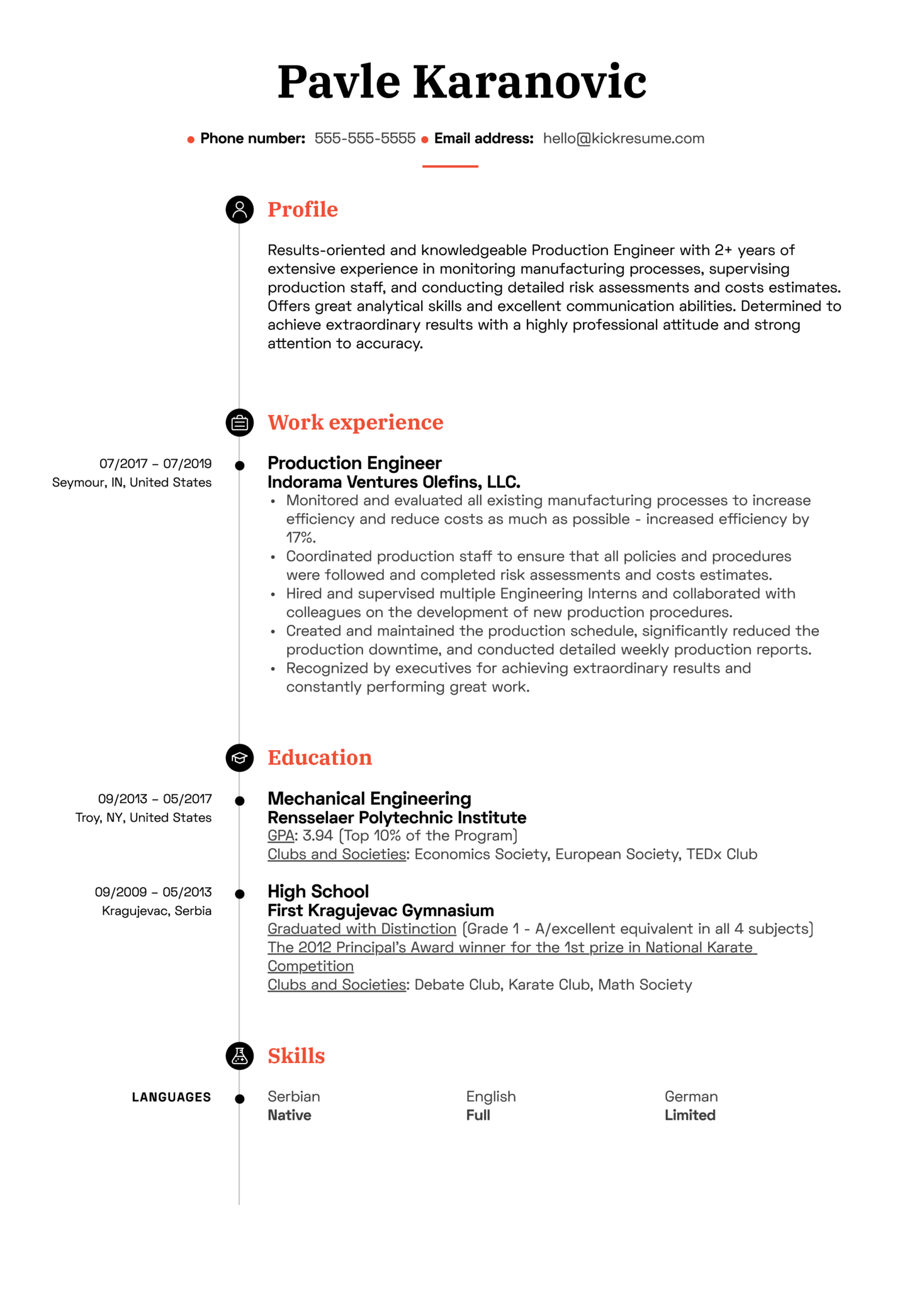 Production Engineer Resume Sample