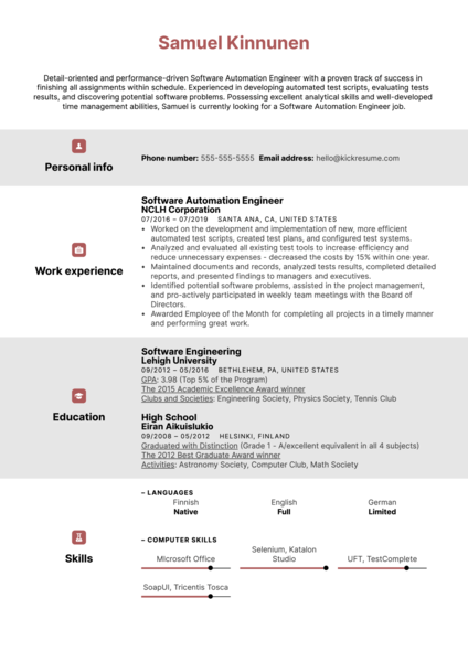 Software Automation Engineer Resume Example