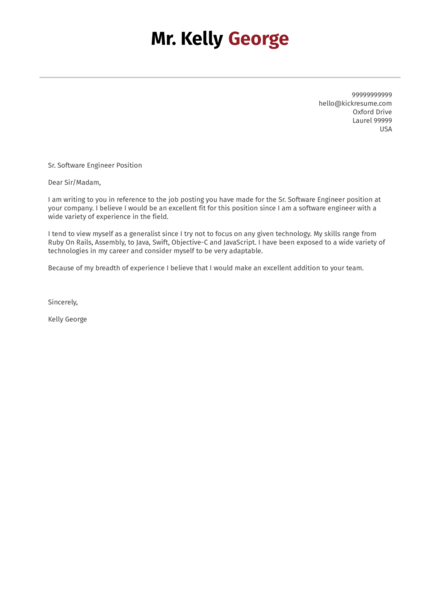 Cover Letter Examples by Real People: Senior software engineer cover ...