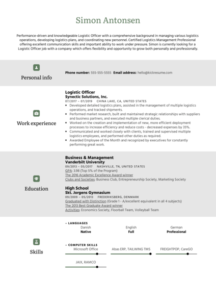 Logistic Officer Resume Sample