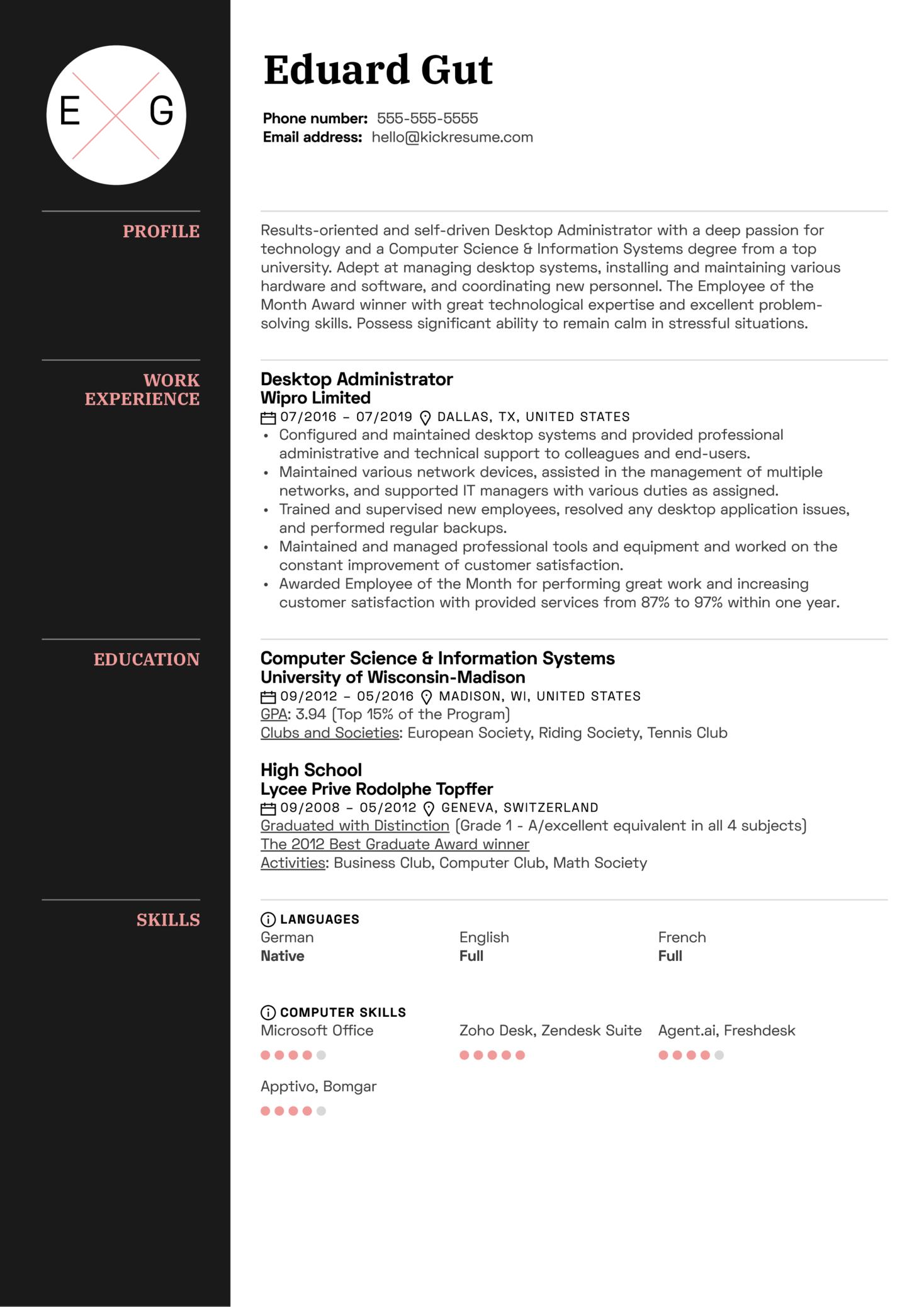 Desktop Administrator Resume Sample (Part 1)