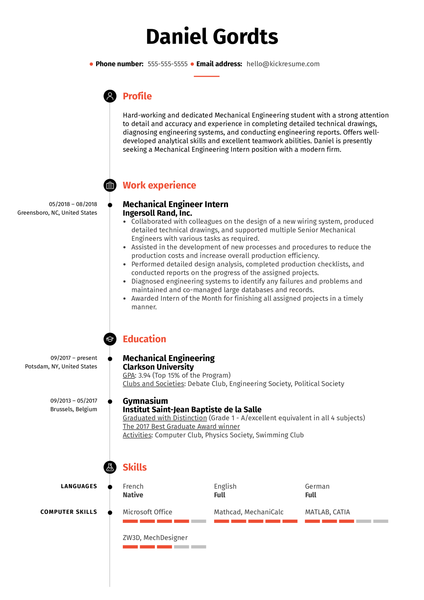 resume examples by real people  mechanical engineering