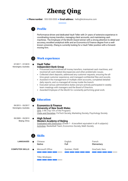 Vault Teller Resume Sample