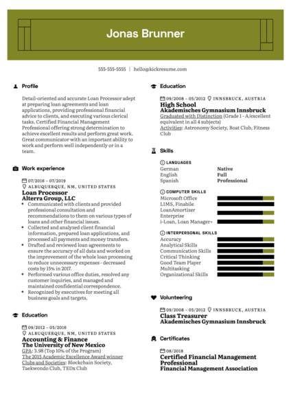 Loan Processor Resume Example