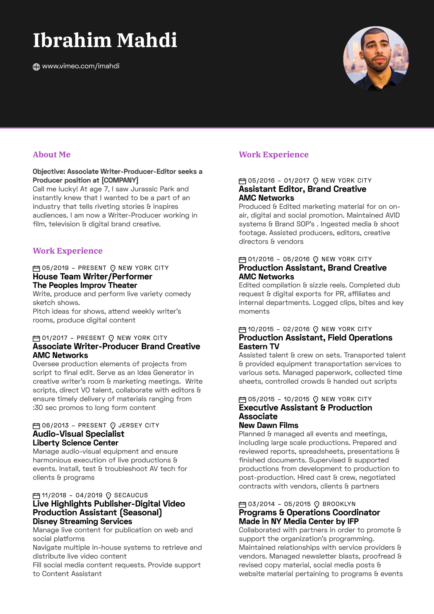 Video Production Assistant Resume Sample