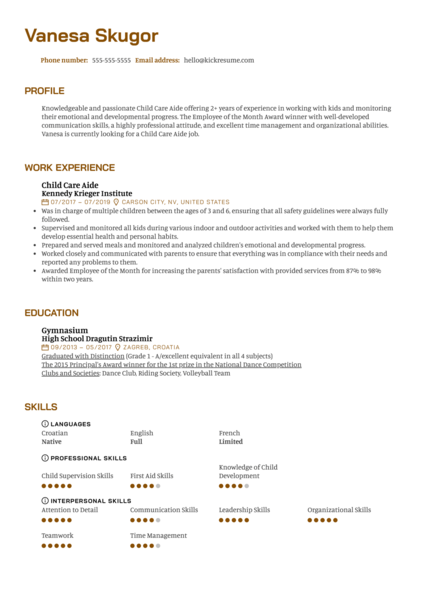 Child Care Aide Resume Sample