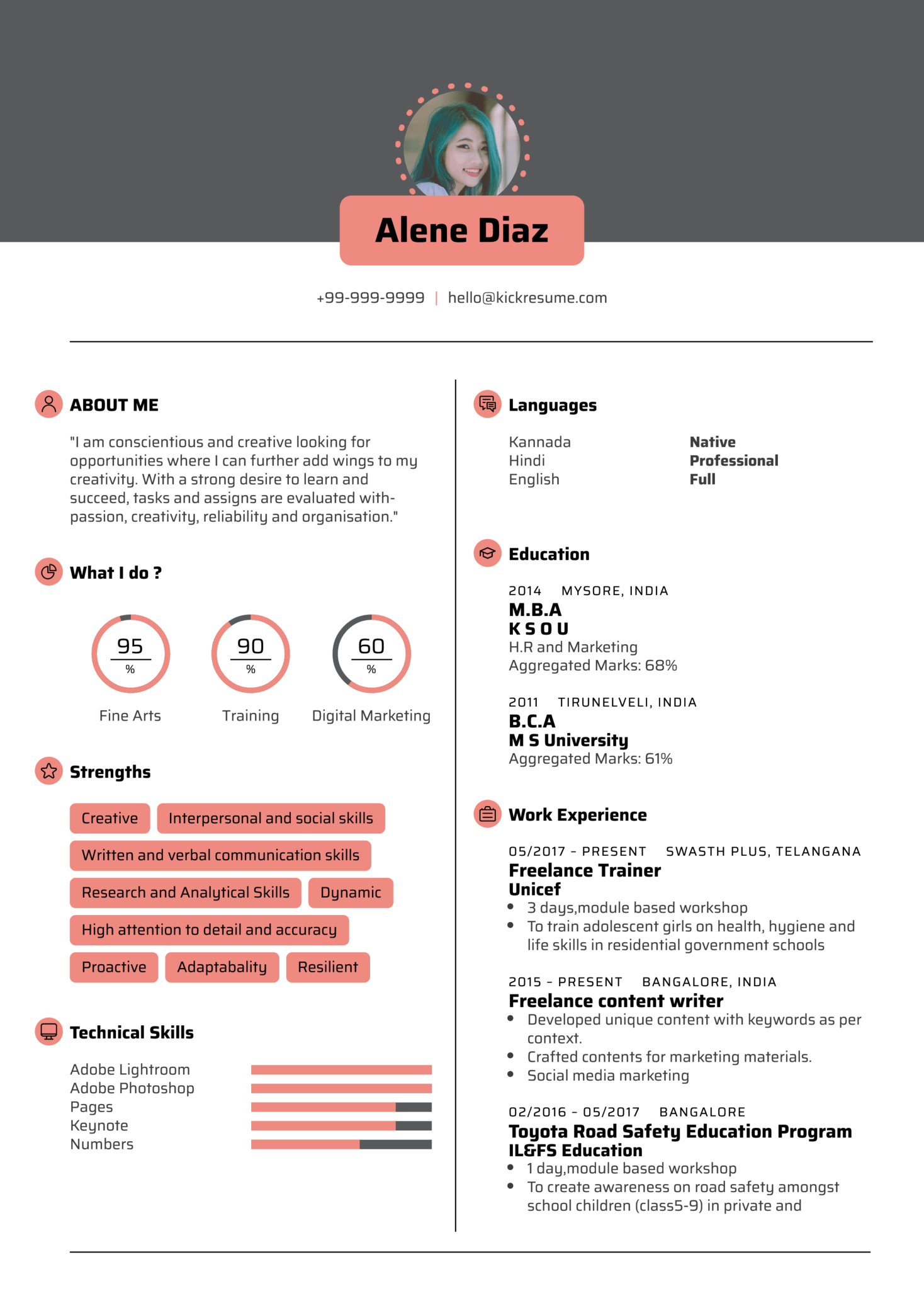 resume examples by real people  unicef freelance trainer