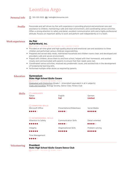 Au Pair Resume Sample