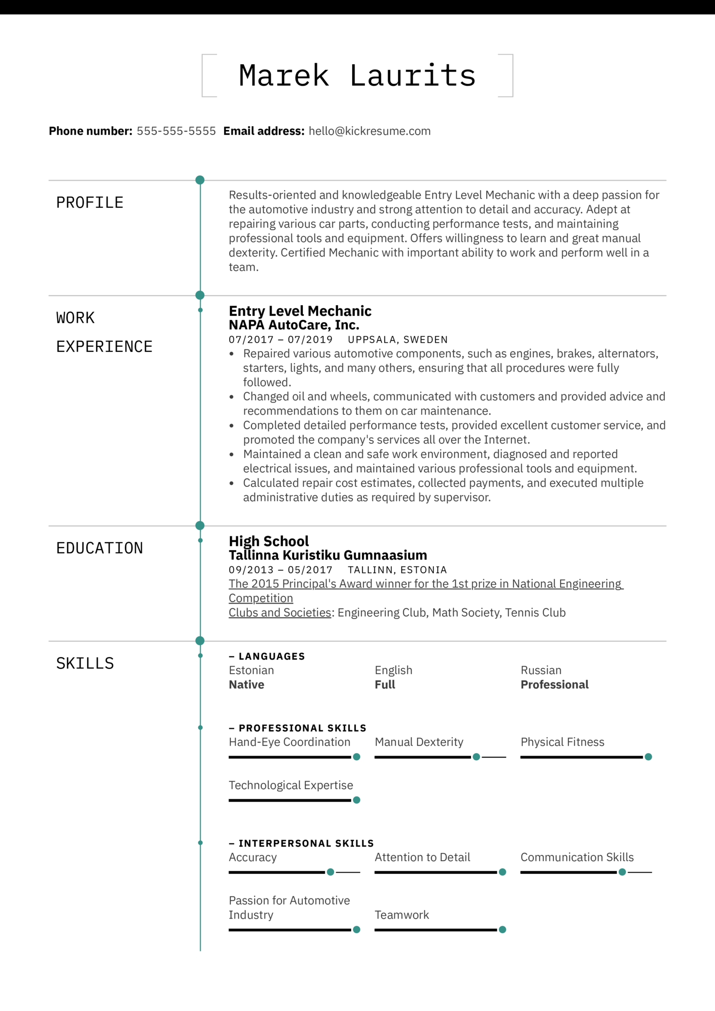 Vehicle Mechanic Resume Example (Teil 1)