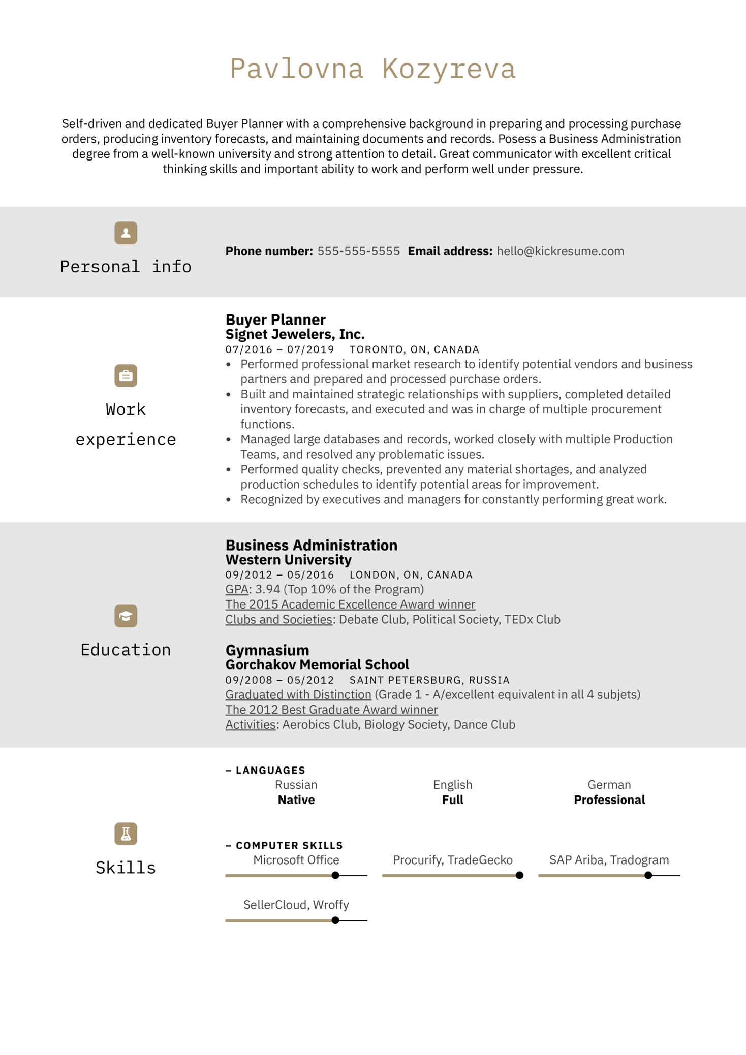 Buyer Planner Resume Example (parte 1)
