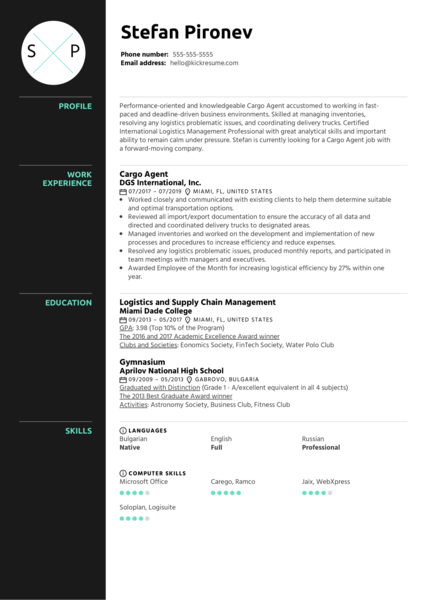 Cargo Agent Resume Sample
